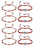 CASSIECA 8 Pcs Pulsera Roja 7 Nudos Amuleto Kabbalah Pulsera Ojo Turco con Mano de Fatima Hamsa Pulsera Hilo Rojo de la Suerte Unisex Pulsera Ajustable...