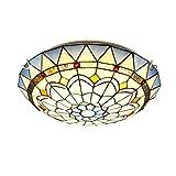 Lámpara de techo LED de montaje empotrado con vitrales mediterráneos LED Plafón estilo Tiffany E27 Luz LED Pandent invertida para dormitorio Sala de...