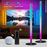 Lampara de Pie Regulable(2 paquetes), Luces LED Funciona con Alexa, Asistente de Google y Cambio de Color RGB Inteligente de WiFi, Luz Ambiental para...