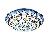 Lámpara de techo estilo Tiffany, montaje empotrado de lámpara de techo LED, accesorios de iluminación redondos de vitrales mediterráneos para...