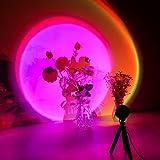 CoMokin Sunset Lamp, 16 Modos de Colores Sunset Projection Lamp, Lámpara de Proyección Arcoíris, Luz Nocturna LED con Rotación de 360°con Soporte para...