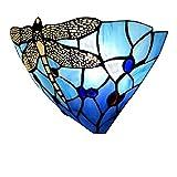 Tiffany aplique de pared E27 Lámpara de pared moderna cabecera cristal de vidrio Colorfull Libélula de diseño interior decorativa iluminación para...