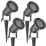 Long Life Lamp Company SPBLK04 - Bombilla IP65 exteriores para jardín o pared, casquillo GU10, 4 unidades, color negro mate, halógena, eléctrica con...