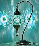 BOSPHORUS - Lámpara de mesa de cristal con base de bronce (verde)