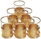 Juego de 6 vasos de té de estilo turco con soporte de cucharas, XL 6 onzas