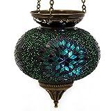 Lámpara colgante de mosaico para exteriores, lámpara de techo de cristal, portavelas oriental, hecha a mano, decoración – Gall&Zick (verde L)