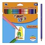 BIC Kids Lápices de Colores para Niños, Óptimo para material escolar,Tropicolors, Colores Surtidos, 2,9mm, Material Escolar, Blíster de 24