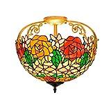 Luz de techo de araña decorativa Tiffany La mitad de 16 pulgadas luz de techo del vitral de Tiffany Estilo amarilla Rose cielling patrón de luz roja for...