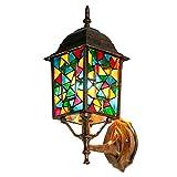 ZQH Bohemia Vitral Lámpara de Pared, Mosaico Turco Luz de Pared E27 Apliques de Pared Habitación Cabecera Luz de Soporte Retro Posada Café Bar Pasillo...