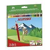 Lapices de Colores Alpino - Estuche de lápices de madera 24 unidades - Lapices para Niños y Adultos - Forma Hexagonal, Bandeja Extraible, Mina Resistente...