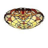 Lámpara de techo LED estilo Tiffany con montaje empotrado, lámpara de techo tradicional con vitrales, iluminación colgante retro redonda invertida para...