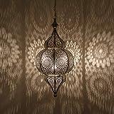 Casa Moro Lámpara oriental Melisa plateada H 54 cm con casquillo E27 con cadena y dosel   magnífica lámpara colgante de plata como en las 1001 noches  ...