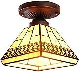 Lámpara de techo semiempotrada estilo Tiffany Lámpara de techo de cristal de color bronce antiguo para colgar iluminación de sala de estudio, balcón,...