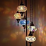 Lámpara de pie turco marroquí de Tiffany de mosaico turco adaptable 5 globos, para lámparas de esquina de dormitorio