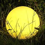 Albrillo RGB Luz Solar de Jardín - Iluminación Exterior LED de Globo de 40cm, Lámpara Esfera con 8 Colores Ajustables, IP68 Impermeable, Carga por Solar...