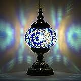 Lámpara marroquí turca, hecha a mano, con mosaico, para mesa de cristal, escritorio, mesita de noche, salón, dormitorio, mesa baja (azul)