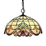 MHHQ Diseño de la vendimia Luz pendiente de Tiffany, que cuelgan del techo Lightin Ronda Lámpara rústica Pastoral Stained Glass Decoración Samsung...