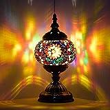 Lámpara marroquí turca hecha a mano con mosaico de cristal para escritorio, mesita de noche, para salón, dormitorio, mesa de café (rojo)