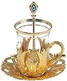 Juego de 6 vasos de té con soporte para cucharas y platillos – diseño vintage tulipán árabe otomano, color dorado