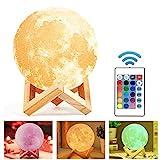 UBEGOOD Lámpara de Luna 3D, Luna LED Lampara 16 Colores Remoto Control Tactil Luz Regulable Usb Niños Lámpara con Soporte de Madera para Dormitorio...