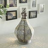 JHY DESIGN Lámpara de mesa 30cm de metal alimentada por batería Estilo Marroquí-árabe Decorativo la mesa lámpara inalámbrica con bombilla de estilo...