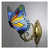 Lámpara de pared estilo Tiffany, lámpara de pared de mariposa artesanal retro vidriera pastoral europea, pasillo dormitorio cafetería bar azul aplique...