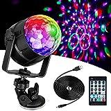 Anpro 15 Colores Luces Discoteca Giratoria,Bola LED de Discoteca,Disco Luz USB, Controlada por Control Remoto,Lámpara Decorada para...
