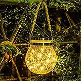 Yuehuam Luz Colgante Solar Exterior Impermeable Led Linterna Solar Jardín Luces de Cambio de Color Bola de Cristal Agrietada Lámpara Solar para La Fiesta...