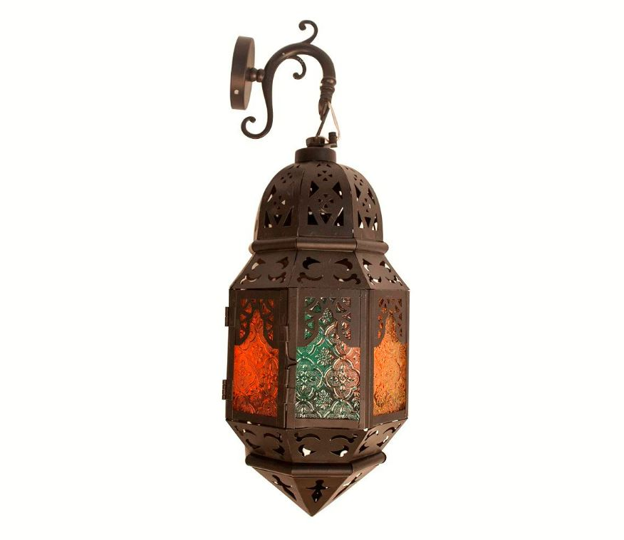 Lámpara turca Pared Decorativa Oriental de Vidrio Multicolor para Interior Exterior