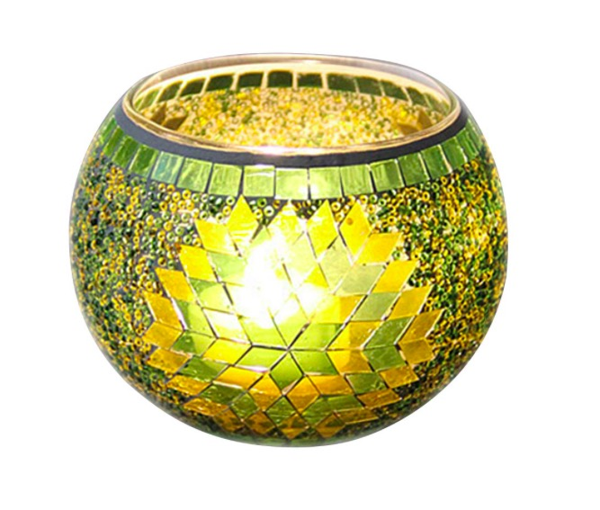 Vosarea portavelas de Cristal portavelas de Mosaico con la Mano para Regalo de Fiesta de Boda decoración (Verde)
