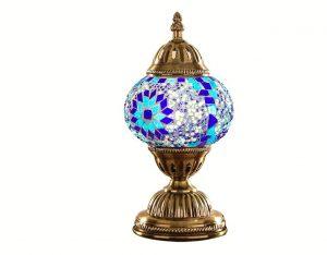 Lampara turca mosaico de mesa azul