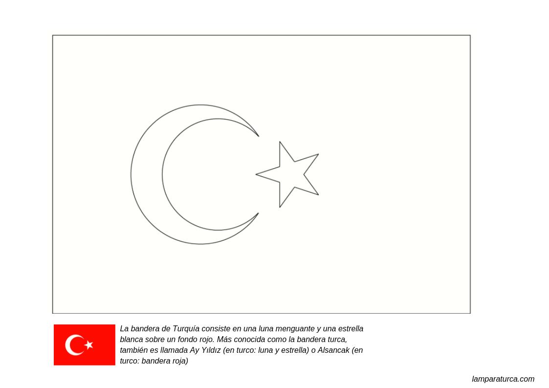 Bandera De Turquía Para Colorear Y Pintar Dibuja Y Colorea