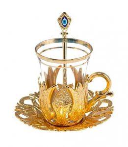 Vaso de te turco dorado de cristal